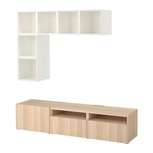 BESTÅ / EKET Sestava skříněk pro TV - bílá/vz. bíle moř. dub, kolejnice, jemné dovírání - IKEA