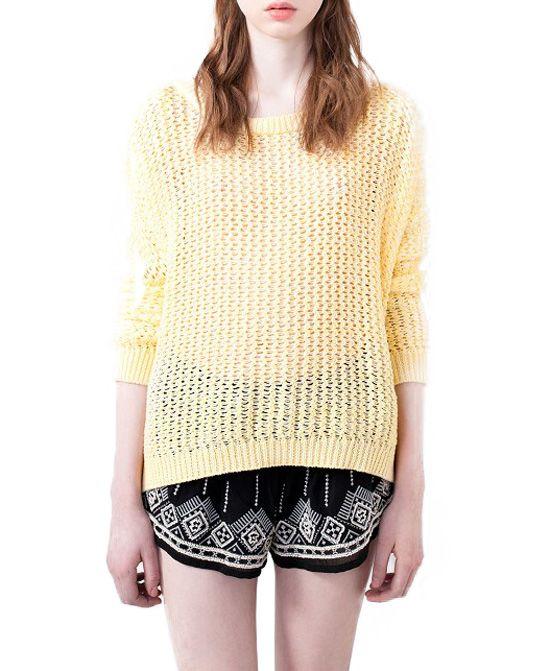 Back Kick Pleat Round Neckline Sweater