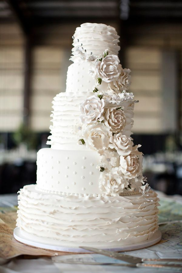 Layered white wedding cake with polka dots and ruffles #wedding #weddingcake #cake #white #polkadots