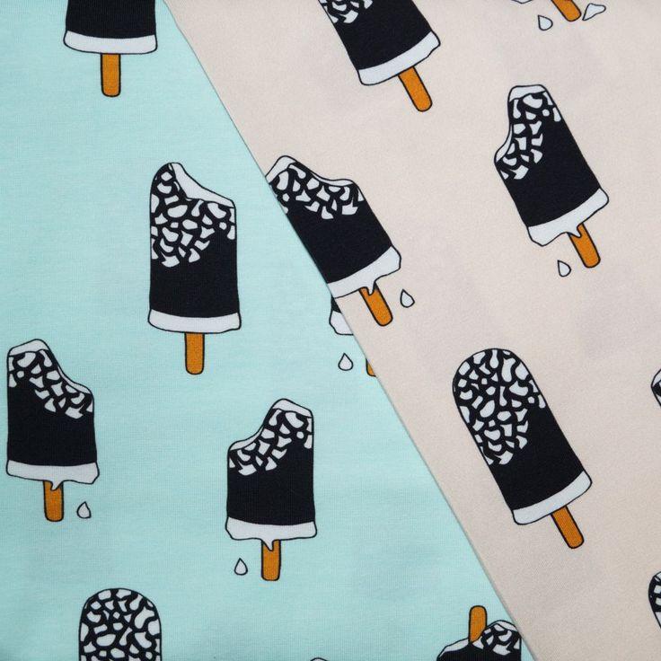 Iice cream mint mia mea design jersey. Biologische tricot met GOTS certificaat. Leuke zomerse print van smeltende ijsjes op tricot.