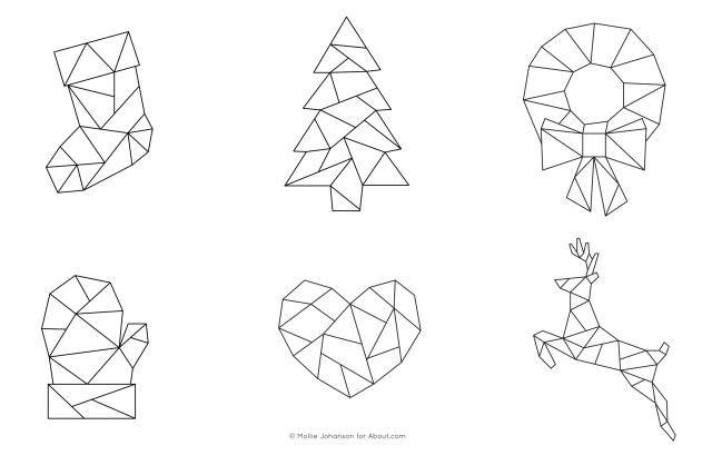 Six FREE Geometric Christmas Embroidery Patterns: Geometric Christmas Patterns