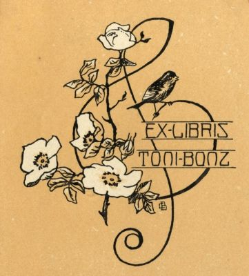 Bookplate by Karl Berkhan for Toni Bonz, 1900c.