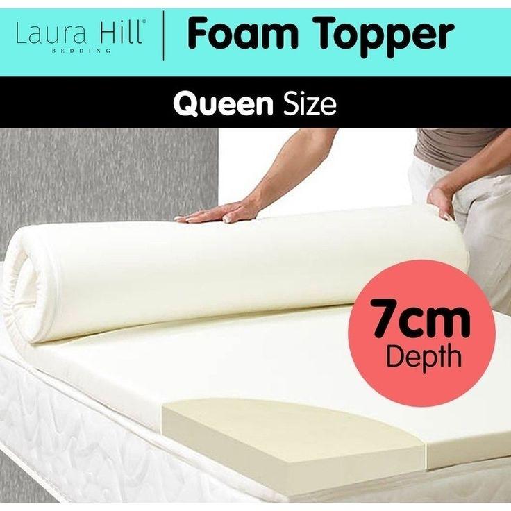 Queen Foam Mattress Topper with Jacquard Cover 7cm   Buy Queen Mattress Toppers