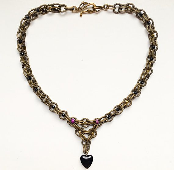 Black Stone Heart Necklace by VexedUpBoutique on Etsy