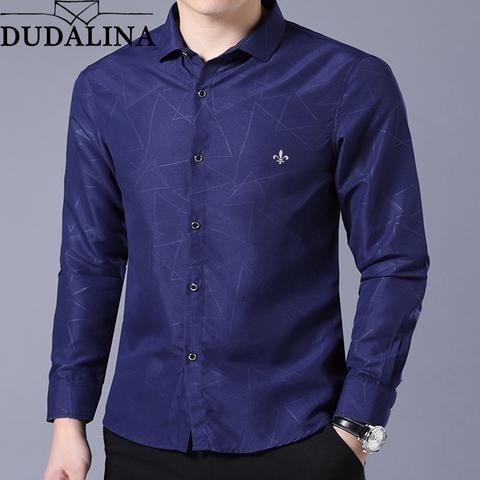 b1a0f0e2574 Dudalina Shirt Male Geometric Casual Brand Clothes Men Shirt 2018 Long  Sleeve Formal Business Man Shirt Slim Fit Designer Dress