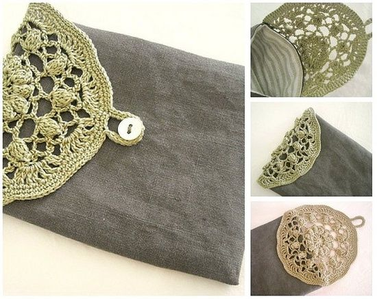 bag closed with doily top - crochet - sweet bag, and would make a nice pouch for gift-giving too. #crochet #Doily #pouch #Bag #Crafts #Stuffed Animals