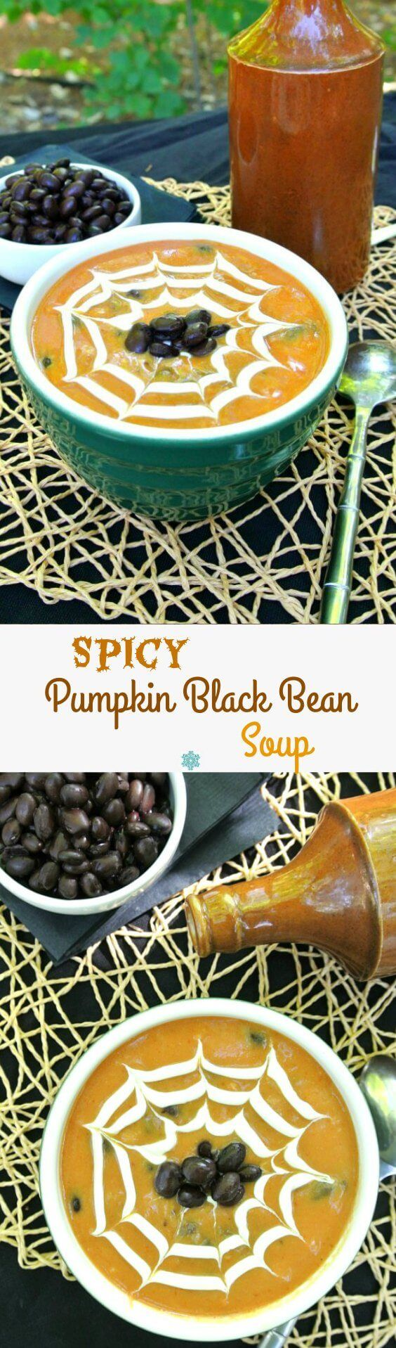 Spicy Pumpkin Black Bean Soup takes a seasonal soup over the top. Lots of texture and taste with ingredients layered one after the other for a flavor complexity that you'll want year after year. #DoPlants @LoveMySilk