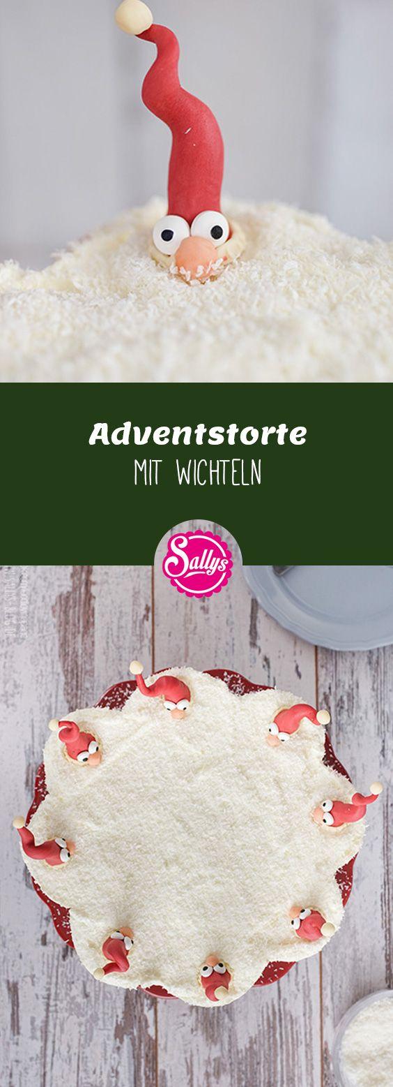 Feiner Mohnkuchen mit Himbeerfruchtauflage und Quarkcreme. Dekoriert ist die Torte mit Kokosraspeln und selbst modellierten Wichteln. Die Torte schmeckt nicht zu süß und ist nicht mächtig.