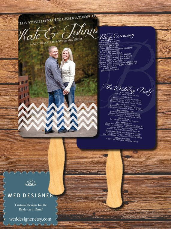 Tilted Chevron Photo Paddle Fan Wedding Program  by WedDesigner, $1.75