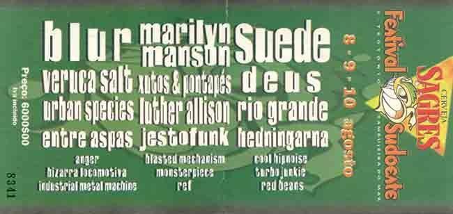 Festival Sudoeste | 1997 | bilhete