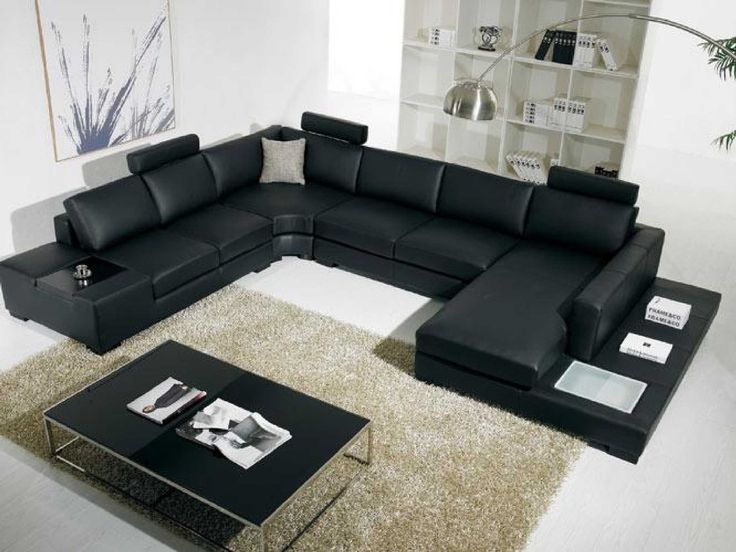 Amazon Com T35 Black Bonded Leather Sectional Sofa With Headrests Black Le Leather Sectional Living Room Living Room Sets Furniture Modern Sofa Sectional