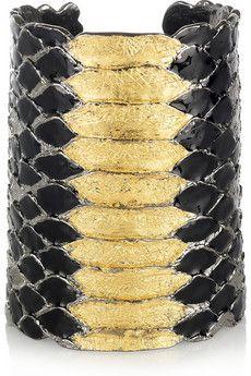 Yves Saint Laurent pulsera brazalete pitón negro oro