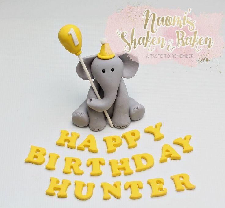 Edible Birthday Elephant with Balloon & Wording Fondant Cake Topper Set 8-11cm #Birthday