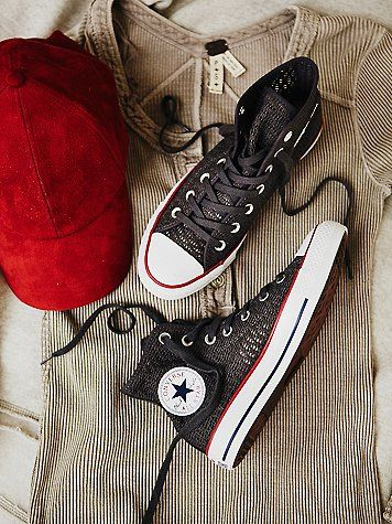 High top Converse featuring a cotton crochet upper with tonal lace-up detail for an easy on-off