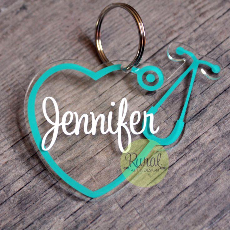Stethoscope, acrylic keychain, ornament, luggage tag, nurse, doctor, medical, rn, monogram,nurse monogram, gift, decal, keychain, nurse gift by RuralArtAndDesign on Etsy