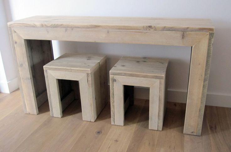 Sidetable (150 x 40 x 80 cm) plus krukjes   Steigerhout   Te koop bij w00tdesign   by w00tdesign   Meubels van steigerhout