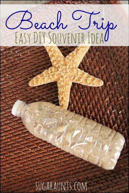 Make a beach themed sensory bottle and easy DIY beach souvenir with the kids!