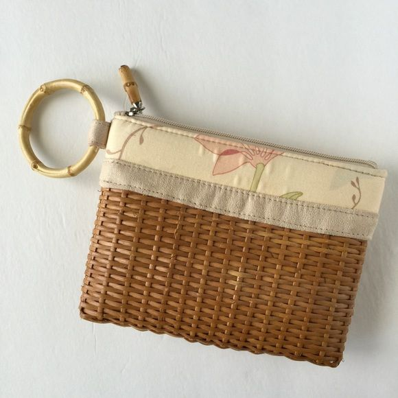"Rattan clutch wristlet Cute tropical style clutch wristlet with faux bamboo ring. By Bath and Body Works. Measures 8"" by 6"". Bath and Body Works Bags Clutches & Wristlets"