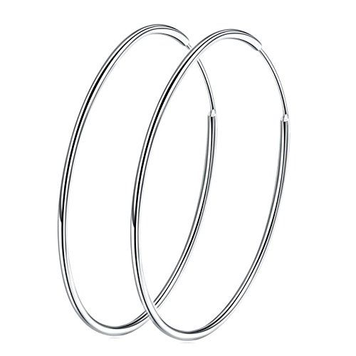 ecdc2aafdaefa Sterling Silver 925 Large Hoop Earrings Circle Endless Basketball ...
