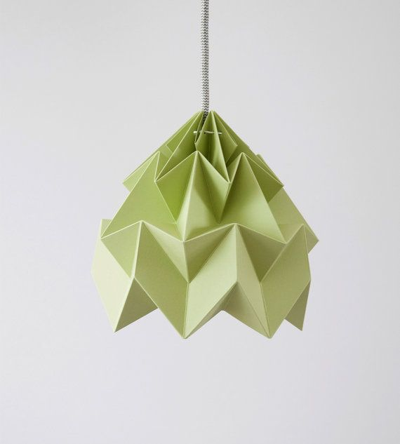 Moth origami lampshade autumn green by nellianna on Etsy, €59.00
