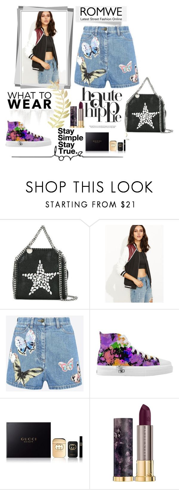"""""""ROMWE"""" by celenk ❤ liked on Polyvore featuring Haute Hippie, STELLA McCARTNEY, Valentino, Gucci and Urban Decay"""