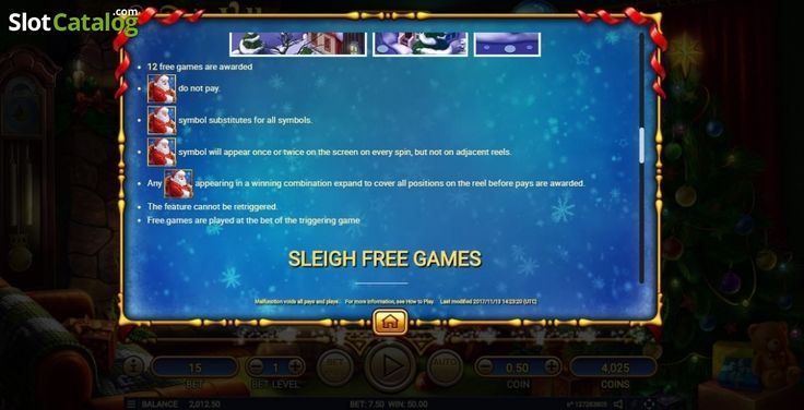 Paytable 4. Santa's Village (Video Slot from Habanero)