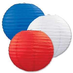 Party Time Celebrations  - Red White and Blue Paper Lanterns - Pack of 3, $19.95 (http://www.partytimecelebrations.com.au/red-white-and-blue-paper-lanterns-pack-of-3/)