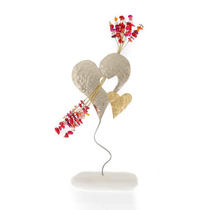 "Modern Art Decor Bronze Metal Heart Figure & Colorful Beads Handmade Love Ornament 11.8"" (30cm)"