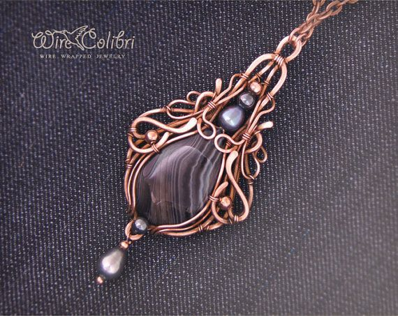 Black agate stone pendant necklace, wire wrapped jewelry handmade, wire wrap pendant by Etsy seller Wirecolibri.