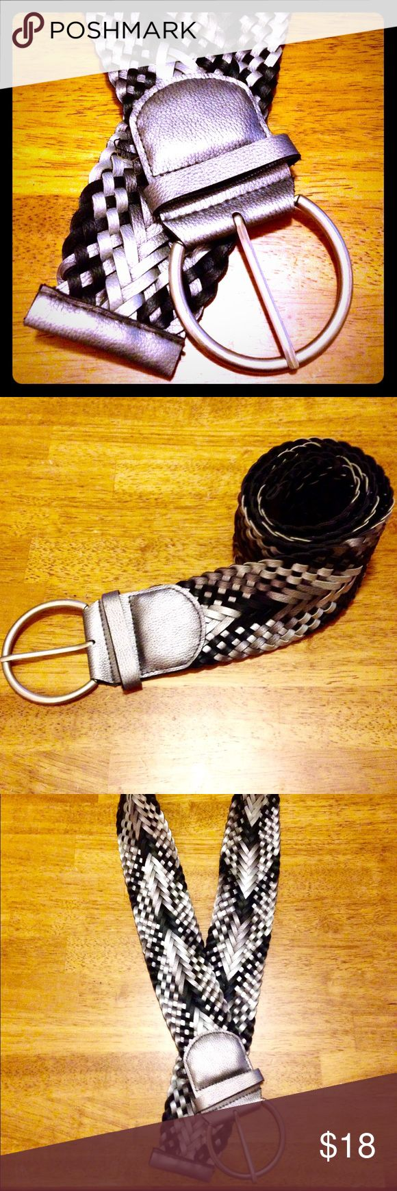 ✨NWOT✨• Black & Silver Crosshatch Design Belt NWOT • Black & Silver Crosshatch Design Belt w/ big Silvery buckle loop. NEVER USED 🎉BRAND NEW WITHOUT TAGS🎉 Accessories Belts