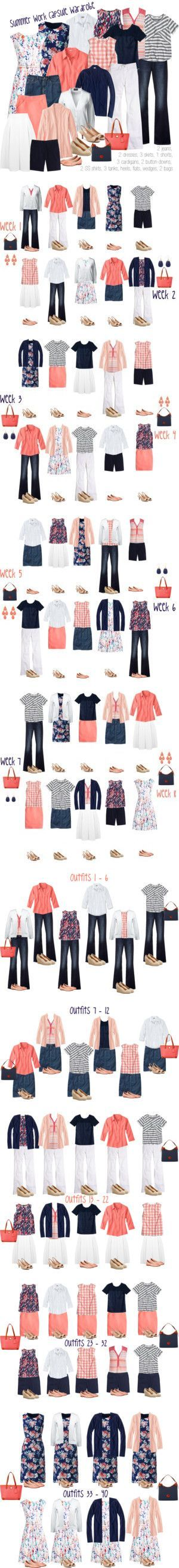 Southern Summer work capsule wardrobe: navy & coral by kristin727 on Polyvore featuring Lands' End, Gap, Boden, J.Crew, Madewell, Miss Selfridge and Dooney & Bourke