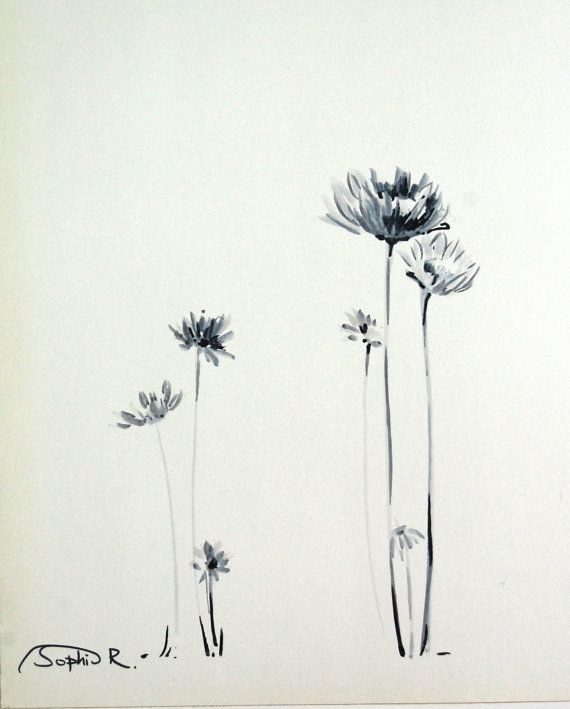 Daisies Flowers- Original Drawing, Black and White, Art Pen Drawing, Nature Botanical Floral Art