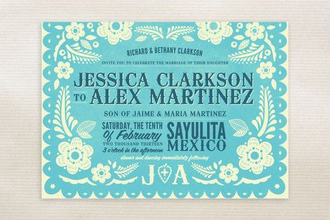 Papel Picado Wedding Invitations by Andres Montaño at minted.com    Cute fiesta themed wedding invitation!