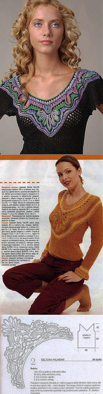 Оригинальный пуловер с ажурной вставкой.. Обсуждение на LiveInternet - Росси | Миссони