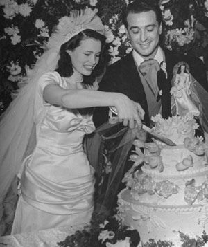Love Gloria Vanderbilt with her husband author Wyatt Emory Cooper, @ their Wedding --- From Classic Famous Brides