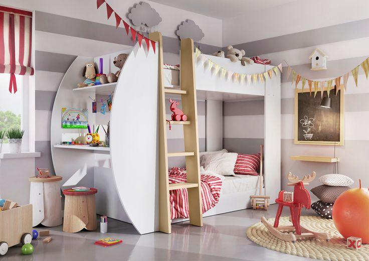 Sprytne rozwiązanie do małych wnętrz - łóżko piętrowe JERRY z biurkiem i pojemnikiem na pościel / Smart solution for small interiors - JERRY bunk bed with desk and bedding container #lozkopietrowe #bunkbed #jerry #meble #furniture #kidsroom #pokojdziecka #dignetlenart #dignet #desk #biurko #pojemniknaposciel #beddingcontainer  #novelty #newarrival #nowosc