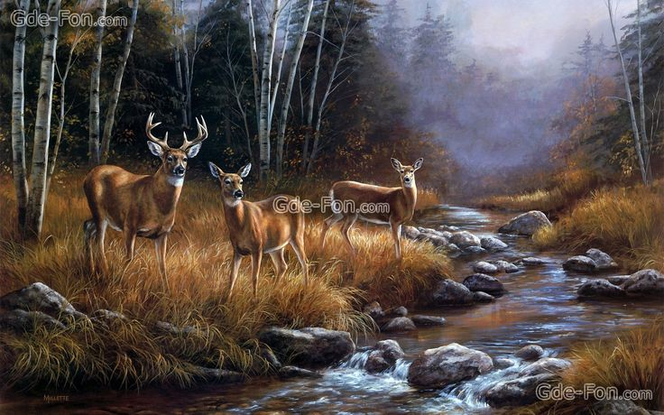 Download Wallpaper Painting Landscape Forest River Free