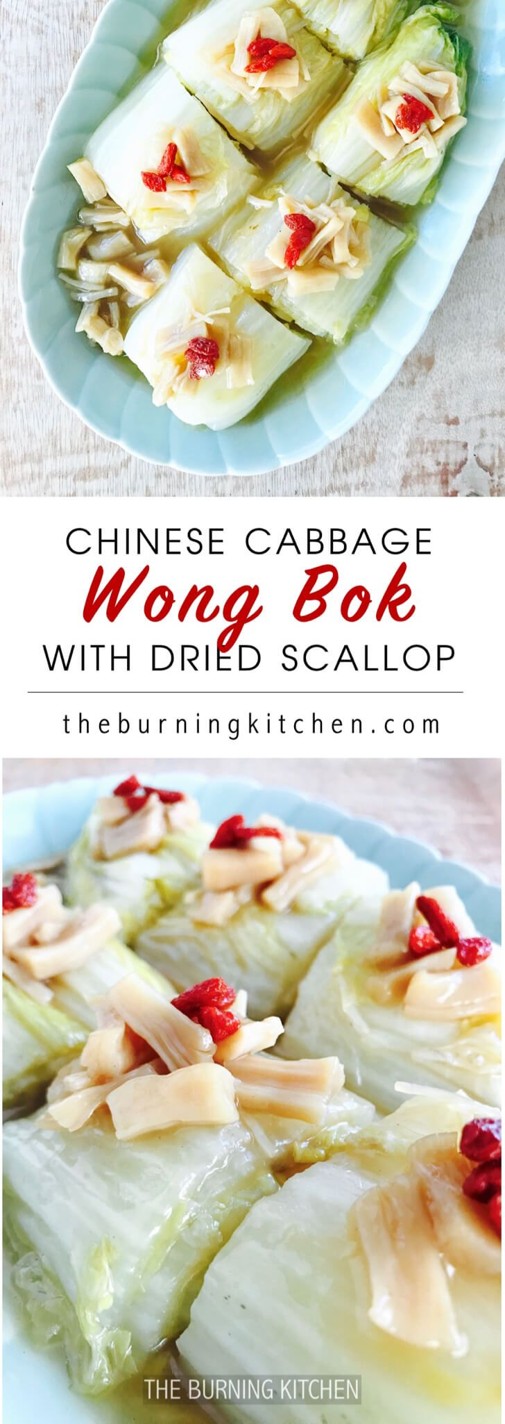Braised Napa Cabbage (Wong Bok) with Dried Scallops: A light healthy dish of sweet cabbage and prized dried scallop braised in a umami-rich gravy made by first caramelising the natural sugars of the cabbage and then deglazing the wok with the essence of the dried scallops. via @burning kitchen