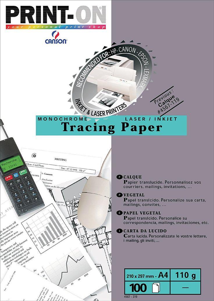 Canson Papier Calque pour Imprimantes Laser et Jet d'Encre 110 g A4 Translucide - Pochette de 100: Amazon.fr: Fournitures de bureau