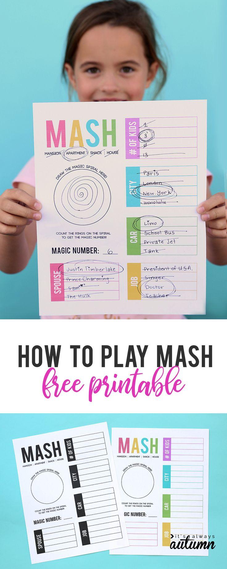 How to play MASH + a free printable game sheet Free