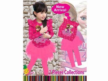 Setelan frozen anak perempuan pink