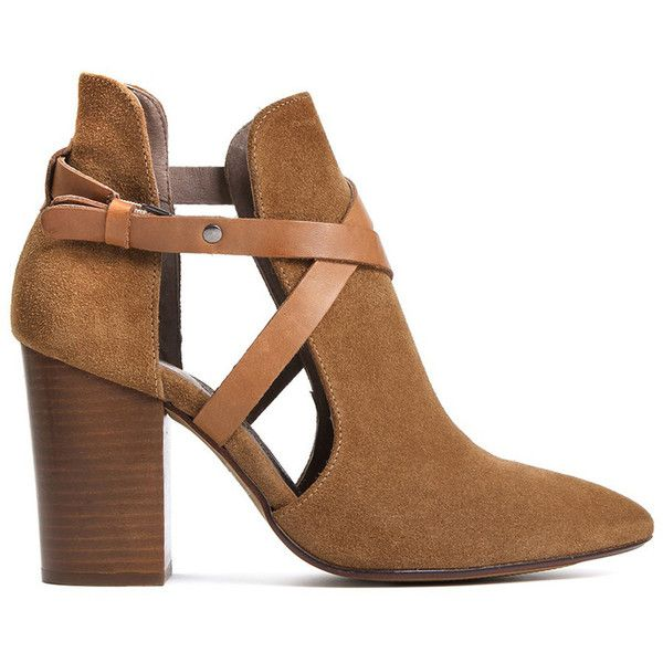 Hudson London Geneve Suede Ankle Boot - Cognac ($170) ❤ liked on Polyvore featuring shoes, boots, ankle booties, heels, zapatos, botas, cognac, suede boots, high heel ankle booties and high heel boots