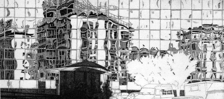 "#art  Milano e Federica Galli. Vedute dal 1956 al 2009. Dal 1 al 30 aprile 2014 Immagine ""F.Galli, Piazzale Loreto, 1989-90 acquaforte originale"" www.federicagalli.com"