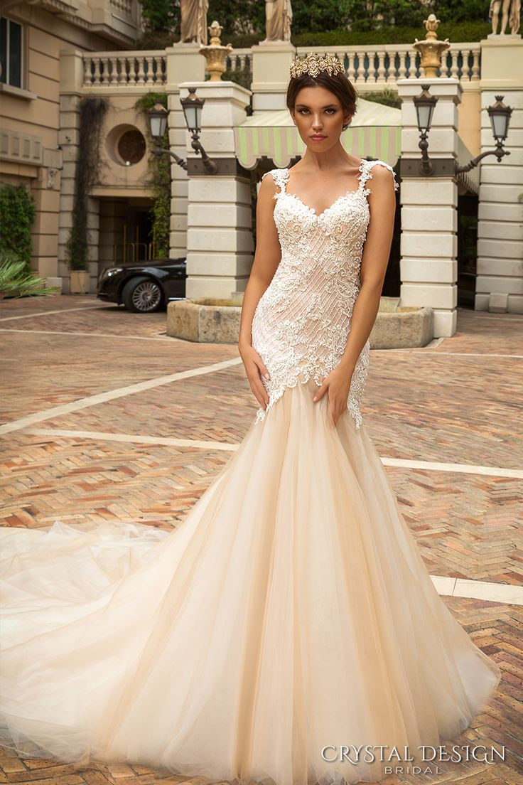 crystal design 2017 bridal sleeveless with strap sweetheart neckline heavily embellished bodice tulle fit and flare mermaid wedding dress low back royal train (solange) mv