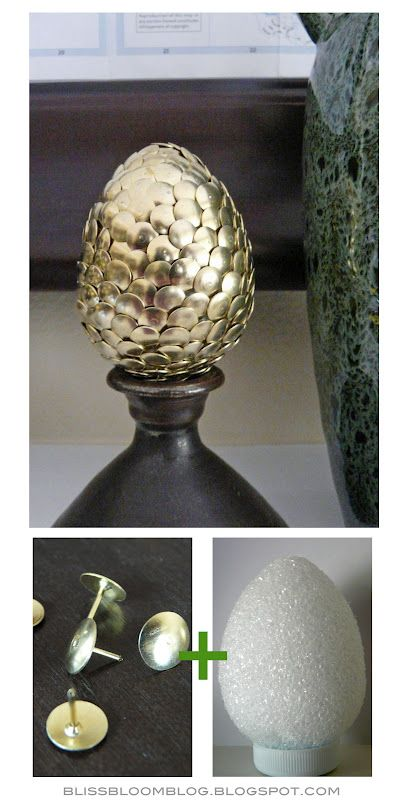 Tack eggs - Use gold or silver tacks to cover a styrafoam egg! I made 1 silver, 1 gold, and 1 mix for our Haft Sin! Also if you are careful (more careful than they are in the picture) your egg will come out looking like it has scales. (make big one for game of throne eggs!)
