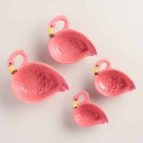 Crafted of ceramic with a vibrant painted finish, our exclusive pink flamingo measuring cup set is an easy and affordable way to make cooking and baking fun. Plus, these whimsical cups nest for easy storage.