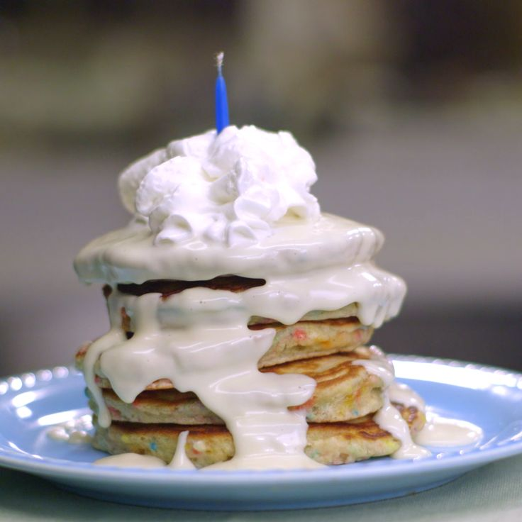 Make an impressive tower of pancakes for a morning birthday celebration -- or serve them as short stacks. Cooking the pancakes over medium-low heat keeps them lightly golden so the confetti sprinkles really pop!