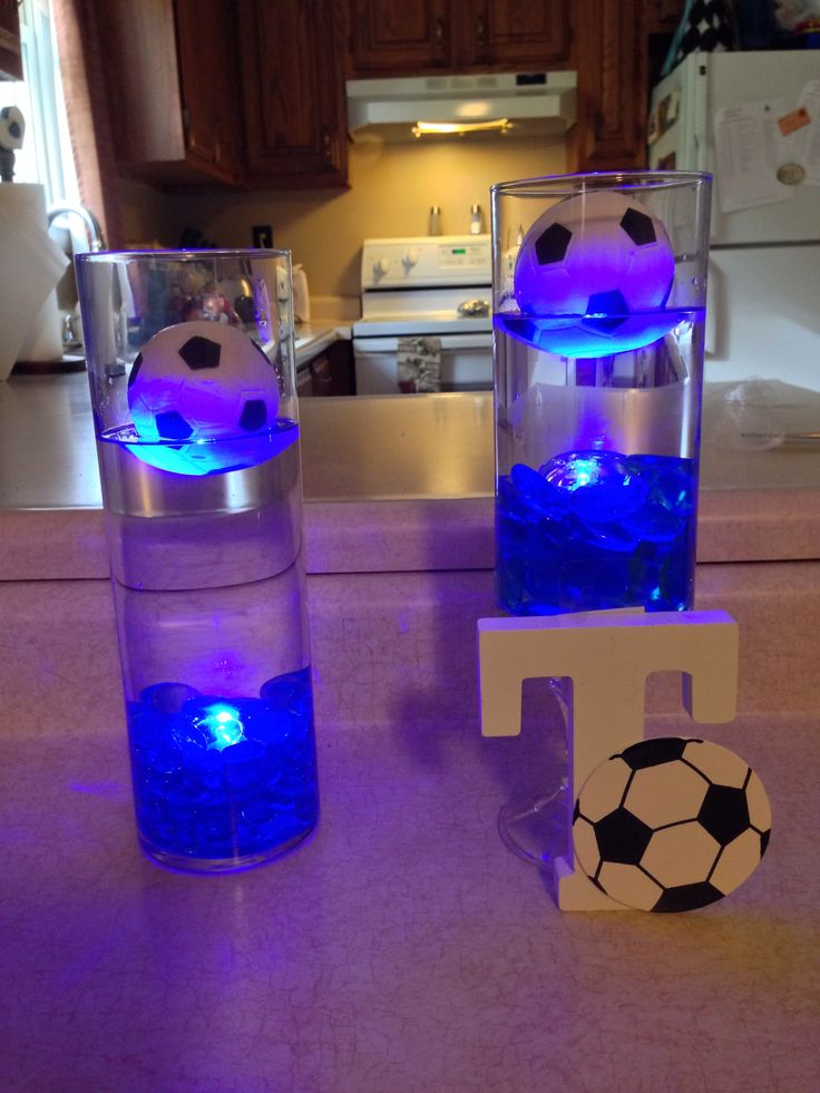 My centerpiece ideas for our sons soccer banquet