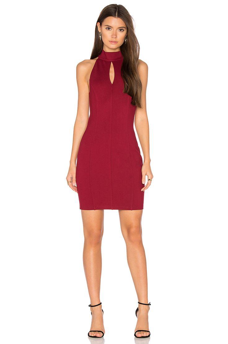 Bobi BLACK Cut Out Bodycon Dress in Dark Red
