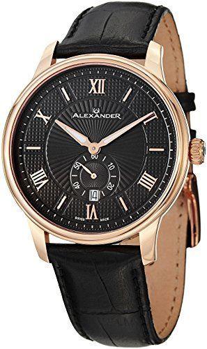 nice Alexander Statesman Regalia Men's Black Leather Strap Rose Gold Plated Swiss Made Watch A102-04